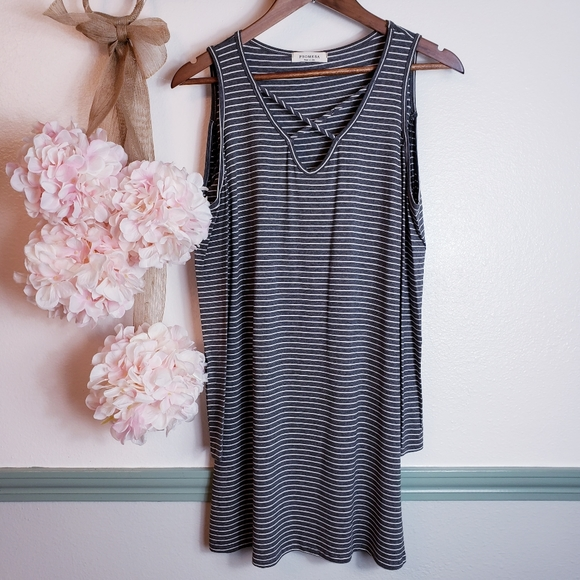 Promesa Dresses & Skirts - Cold Shoulder Pinned Stripped Dress not Small